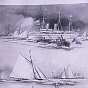'The Royal Yacht Squadron Regatta at Cowes' Full Page from The London Illustrated News August