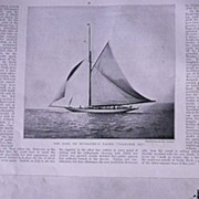 'Contest For The AMERICA CUP' Full Page from The London Illustrated News July 1895