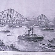 'The Channel Squadron at Anchor off The Forth Bridge' Full Page from The London Illustrated ..