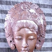 Hand-Carved Balinese Bust of Native Lady in Traditional Dress