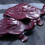 A pair of  Hand Carved Balinese Tortoise 's