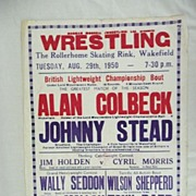 WRESTLING  - Genuine Old 1950 Advertising Poster - Wakefield - England