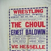 WRESTLING  - Genuine Old 1950 Advertising Poster - Keighley - England