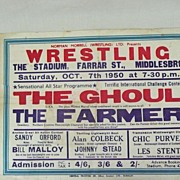 WRESTLING  - Genuine Old 1950 Advertising Poster - Middlesbrough- England