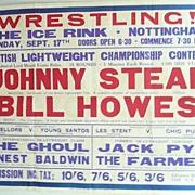 WRESTLING  - Genuine Old 1950 Advertising Poster - Nottingham - England