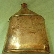 A Victorian Copper Water Flask Dated 1898