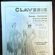 "SALE ORIGINAL ""CLAVERIE"" Advert  From L ' Illustration French Magazine  June 1938"