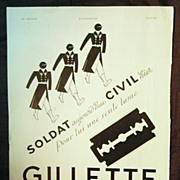 "SALE ORIGINAL ""GILLETTE"" Advert From L ' Illustration French Magazine May 1940"