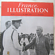 "ORIGINAL FRONT COVER ""Mountbatten Meets Nehru""   From L ' Illustration French Magazi"