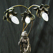 SALE An Original & Beautiful Pewter & Brass Figural Lamp Circa 1910