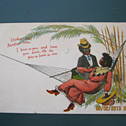 "Black American Postcard "" Under The Bamboo Tree"""