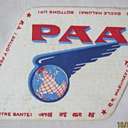 PAN AM Airlines Souvenir  Drinks Coaster - Pre Jet Liners