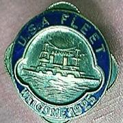 U.S.A  FLEET Welcome 1925 - Enamel & Brass Badge