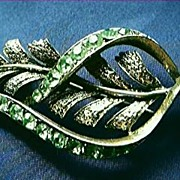 Lime Green Diamantes 1950's Brooch