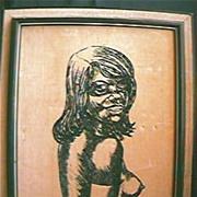 Aboriginal Girl Original Painting on Velvet Circa 1970