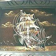 Vintage Original Oil on Velvet Painting