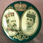Rare Chromolithographed Pin Back King Edward V11 Coronation 1902