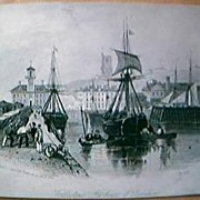 Original Engraving Folkstone Harbour & Pavilion 1844