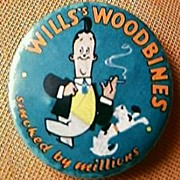 "Vintage Cigarette-Pin-Back ""Wills Woodbines Smoked by Millions"""