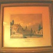 """Vintage Dutch Engraving """" MEPPEL"""" Van Den Hoogeveenschen Straatweg"""