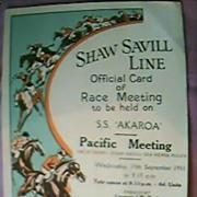 S.S. Akaroa Shaw Savill Line Race Programme