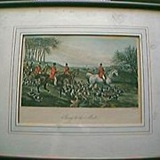 Vintage Pair Of Hand Coloured Sporting Engravings Circa Mid-Late 1800's