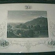 """SALE Antique American Engraving """"Monte Video The Residence of D. Wadsworth Esq."""" Cir"""