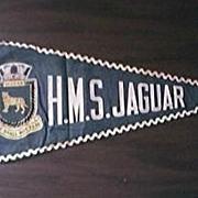 Vintage WW11 Pennant from HMS JAGUAR, Royal Navy Destroyer