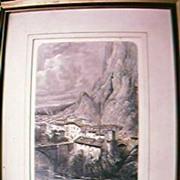 """Antique Engraving """"Bridge of Sisteron"""" Circa 1879"""