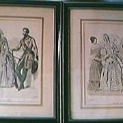 Antique French Pair of Engraved Hand Coloured Prints Dated 1843