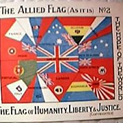 World War One Patriotic Postcard  of Allied Flags