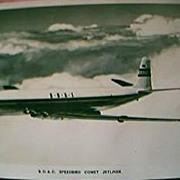 """B.O.A.C. Airlines Postcard """"Comet Jetliner"""""""