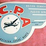 BCPA Airlines  Baggage Advertising Sticker 1940's