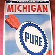 PURE Firebird Gasoline  Michigan Travel Map 1964