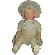 Vintage All Original 1920s Ideal Smiles Doll~ Flirty Eyed, Compo~Rubber~Cloth Baby