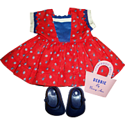 SOLD Vintage Original Tagged Nancy Ann Debbie Doll Dress With Signature Purse & Shoes
