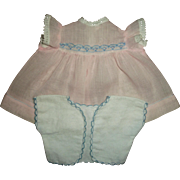 Vintage Effanbee Dy-Dee Baby Doll Pink Dress and Scalloped Edge Flannel Short Kimono/Diaper To