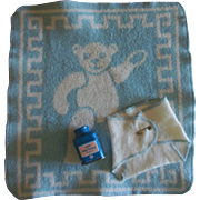 Dy-Dee Doll Layette Items~Eiderdown Blue Teddy Blanket~Rare ZBT Baby Doll Powder~Diaper