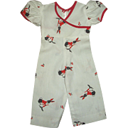 Cute Vintage Factory Rabbit Print Jumpsuit