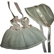 """SOLD Sweet Vintage Organdy Sundress With Matching Bonnet~Fits 11"""" Dy-Dee Baby Dolls"""