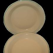 SALE Set of Eight (8) Cream & Green Enamelware Graniteware Plates