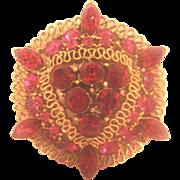 SALE Vintage Lisner Ruby Red Pin