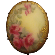 SOLD Victorian Hand Painted Porcelain Pin