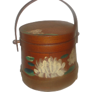 SALE Early Decorated Wooden Firkin Bucket