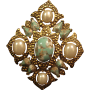 Sarah Coventry Costume Jewelry Pin Faux Turquoise Marcasite