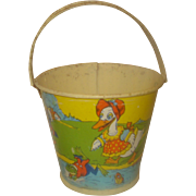 SALE Vintage Childs Metal Candy Pail Stover Candy