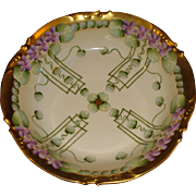 SALE Hand Painted Pickard China Bowl Violets Limoges