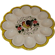 SALE Py Rooster Roses Egg Plate