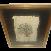 SALE Framed Birds Painting on Fabric/Silk