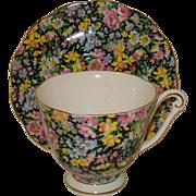 Queen Anne Chintz Porcelain Cup & Saucer